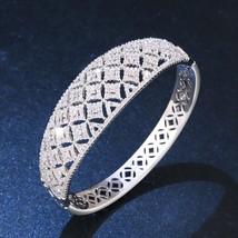 Luxury Zirconia Ladies Wide Silver Cuff Bracelet Women White Gold Bridal Crystal - $36.20