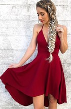 Halter Burgundy Short Party Gowns A Line High Low Homecoming Dresses Strapless - $159.00