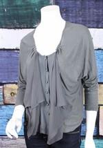 Anthropologie Small S Esley Gray Cascading Ruffle Slub Knit Cardigan Swe... - $24.74
