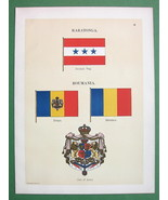 FLAGS of Romania & Raratonga Cook Ilsands - 1899 COLOR Antique Print - $8.77