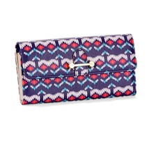 No Boundaries Ladies Clutch Wallet Blue Tribal With Gold Accents NEW - €13,51 EUR