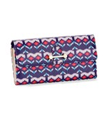 No Boundaries Ladies Clutch Wallet Blue Tribal With Gold Accents NEW - £11.34 GBP