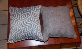 Pair of Gray Beige Decorative Print Throw Pillows  10 x 10 - $29.95