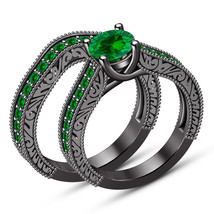 Green Sapphire Bridal Anniversary Ring Set For Womens With 14K Black Gol... - $88.98