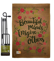 Beautiful Minds Inspire Others Burlap - Impressions Decorative Metal Gar... - $33.97