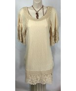 Judith March Anthropologie S Top Blouse Tunic Eyelet Crochet Lined BOHO ... - $21.14