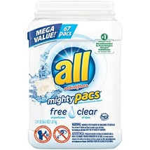 all Mighty Pacs Laundry Detergent, Free Clear for Sensitive Skin, Unscented, Tub