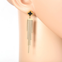 Designer Gold Tone Drop Earrings with Jet Black Faux Onyx Clover and Tas... - $24.99
