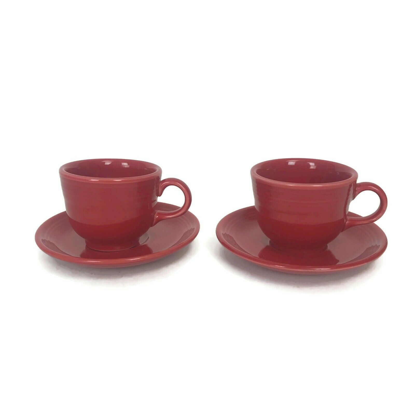 Fiesta Pottery Cups & Saucers Bright Scarlett Red Glaze Coffee Tea Set Of Two - $25.21