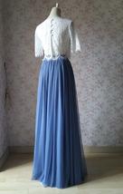 DUSTY BLUE Full Tulle Skirt Dusty Blue Wedding Tulle Skirt Outfit T1862 image 3