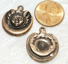 SUN AND MOON FINE PEWTER PENDANT CHARM - 19mm L x 23mm W x 3mm D image 2