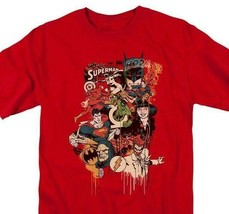 Justice League DC Heroes Villians T-shirt comic book superfriends red DCO566 image 1