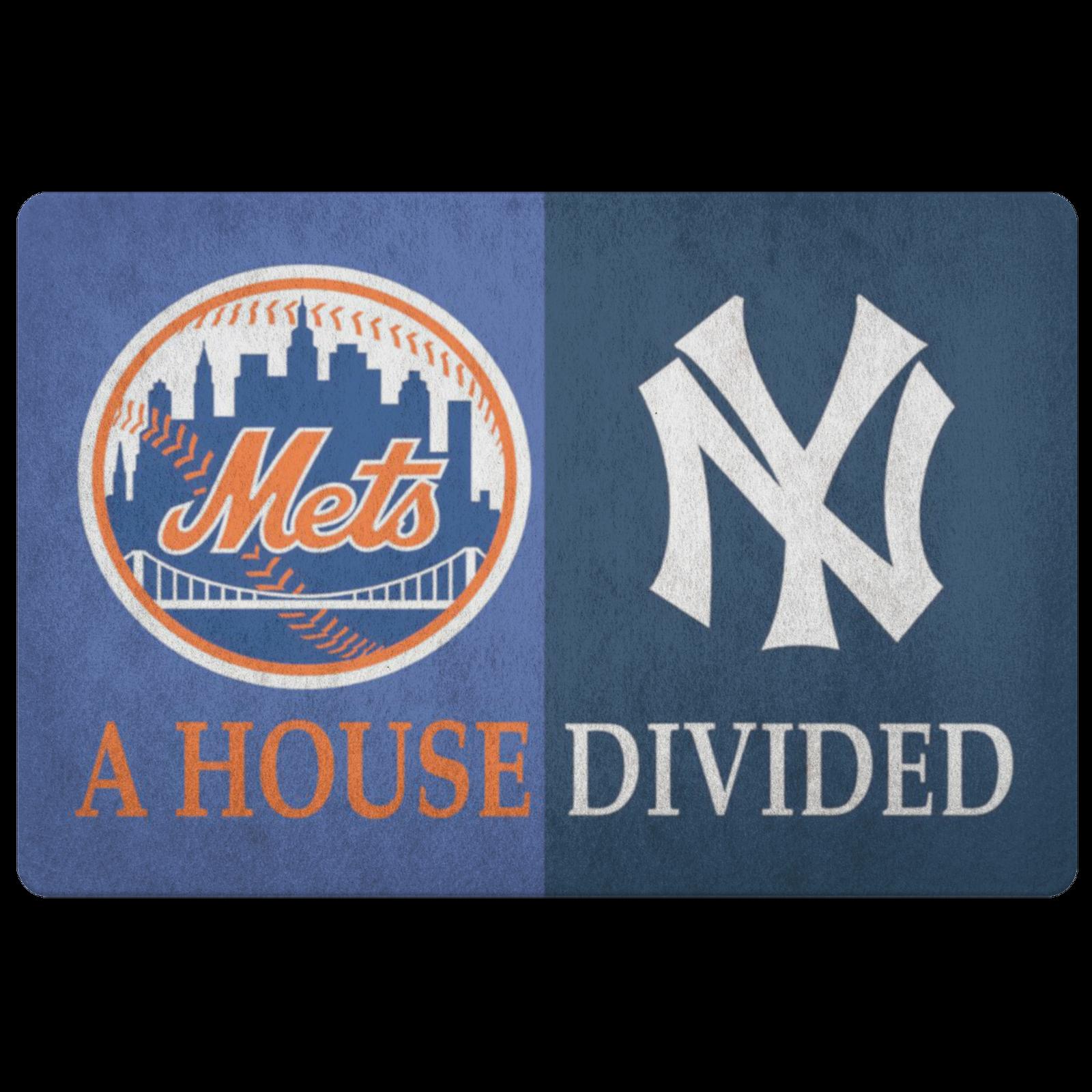 House Divided Man Cave Decor Baseball Fan Mets New York Yankees Custom Doormat