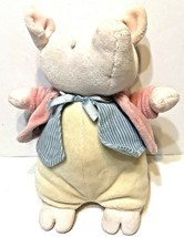 "Eden Plush Pig Blue White Vest Pink Jacket 9"" Soft Cuddly Lovey - $15.57"