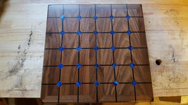 Magnetic tak set made from walnut, gaboon ebony,wenge,and blue acrylic - $239.95