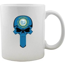 Original South Dakota State Flag Molon Labe Skull Mug - $16.99