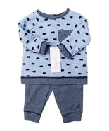 NEW INFANT BOYS OFFSPRING 2PC BLUE COTTON BEAR SHIRT STRIPED PANTS JOGGE... - $9.89