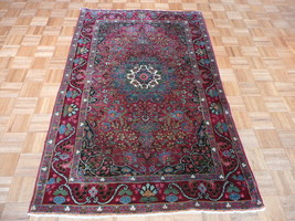 4 X 6'10 Hand Knotted Red Antique Fine Kirman Oriental Rug G1888 - $1,196.24