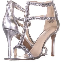 Nine West Fresh  Strappy Evening Sandals 174, Silver/Silver, 7.5 US - $31.38