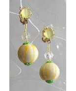 Fabulous Mod White, Yellow & Green Drop Clip Earrings 1960s vintage - $12.82