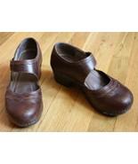 Dansko 39 8.5 9 Brown Leather Mary Jane Heel Floral Detail Clogs - $37.20