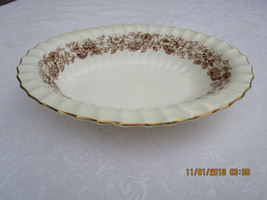 Antique Royal Doulton Mayfair Vegetable Bowl England H4905 Brown Floral - $13.99