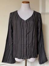 Cloth & Stone Anthropologie Gray Black Striped Linen Cotton Knit Top V-Neck L - $19.99