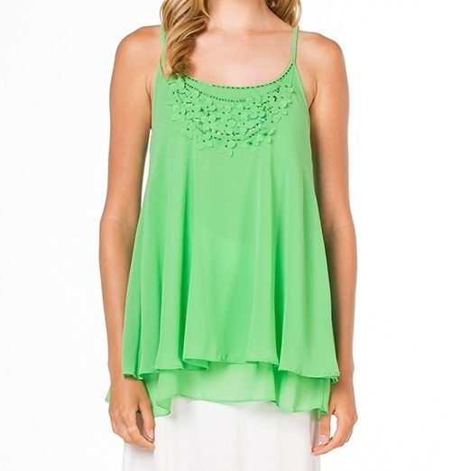 Apple Green Floral Detailed Chiffon Top, Embroidered Blouse, Chiffon Blouse