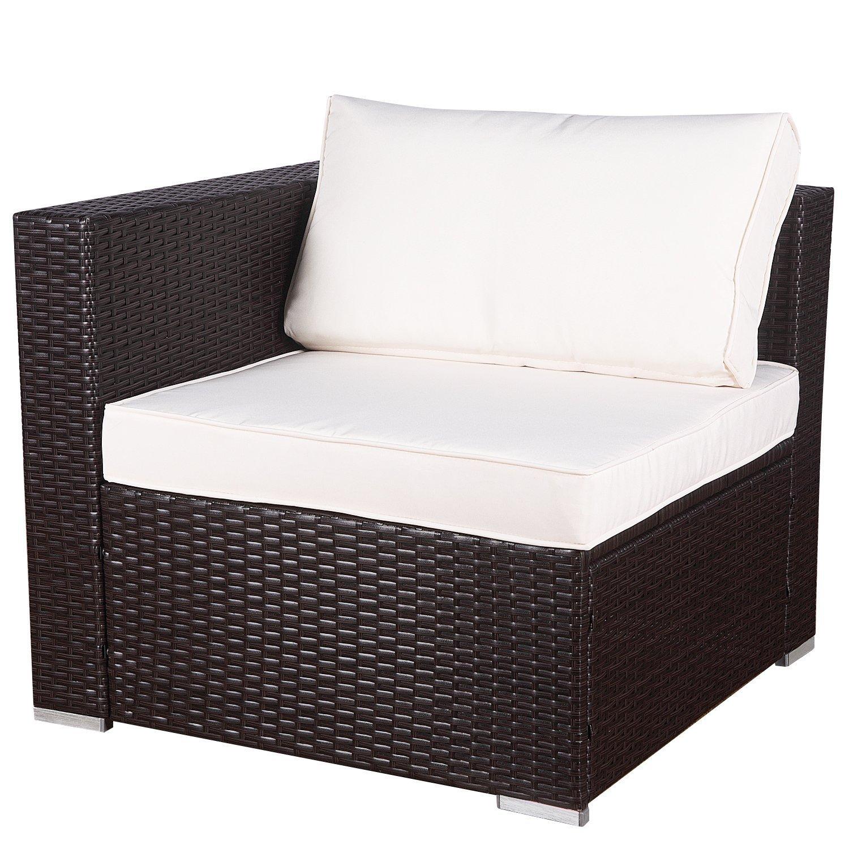 6 PC Outdoor Patio PE Garden Wicker Furniture Rattan Sectional Sofa Set Brown