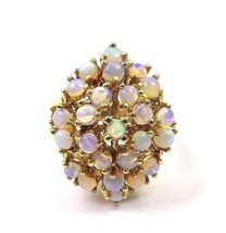 14k Yellow Gold Vintage Women's Cocktail Ring With Opals - $925.00