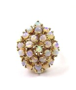 14k Yellow Gold Vintage Women's Cocktail Ring With Opals - $860.95