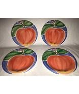 "Bella Ceramica Set of 4 Luncheon Salad Sandwich Plates Apple Fruit EUC 9"" - $39.99"