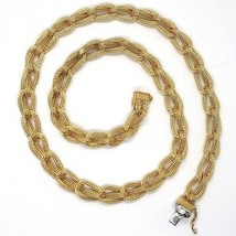 Choker Necklace Yellow Gold 750 18K, Braided, Spiga , Satin, Rope - $2,648.58
