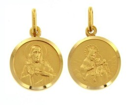 18K YELLOW GOLD SCAPULAR OUR LADY OF MOUNT CARMEL SACRED HEART MEDAL ITALY MADE image 1