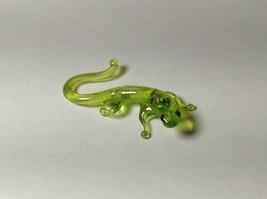 Miniature Glass Yellow green salamander Handmade Blown Glass Made USA