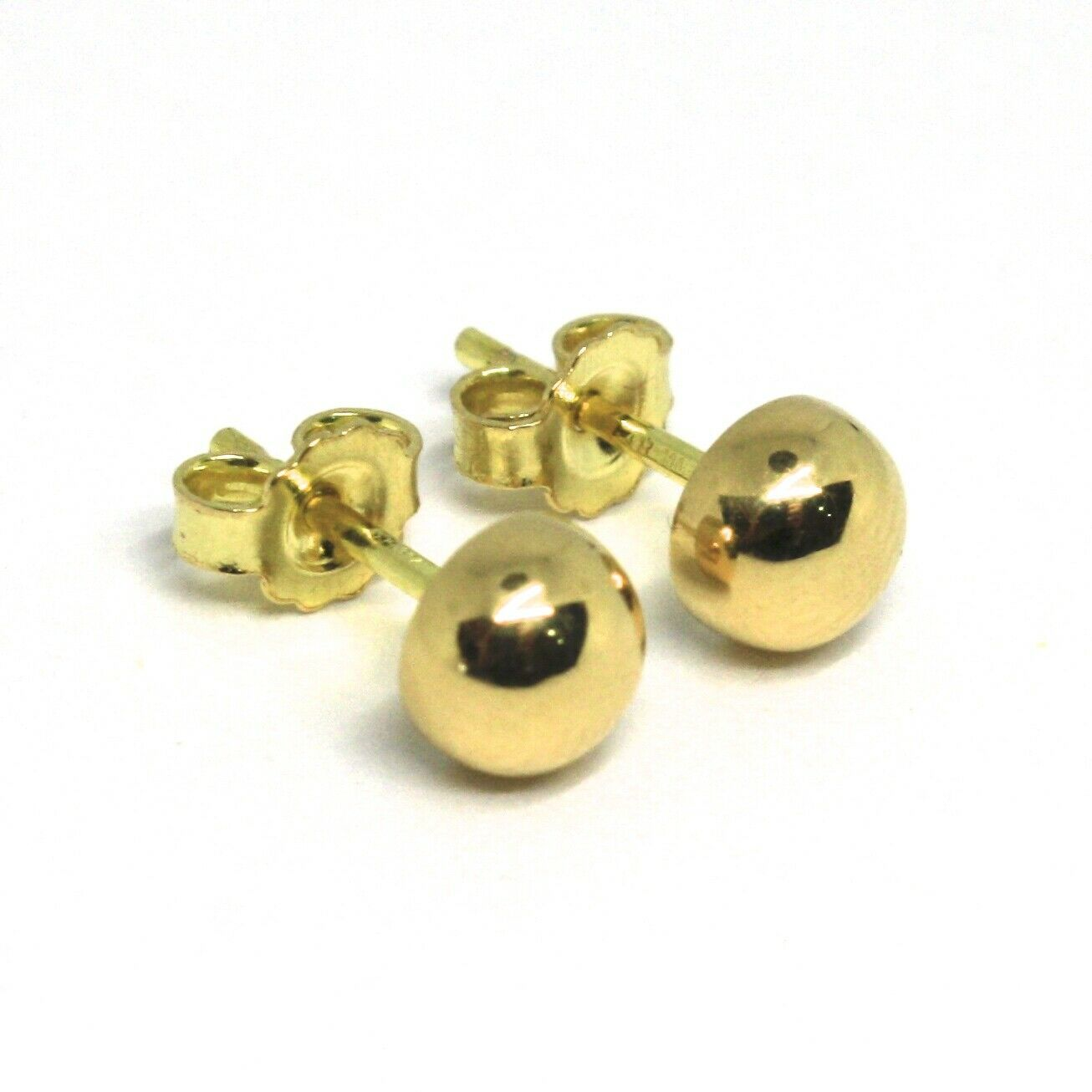 "18K YELLOW GOLD EARRINGS, MINI HALF SPHERE, DIAMETER 5 MM, 0.2"", MADE IN ITALY"