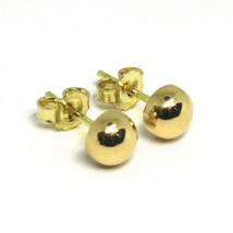 "18K YELLOW GOLD EARRINGS, MINI HALF SPHERE, DIAMETER 5 MM, 0.2"", MADE IN ITALY image 1"
