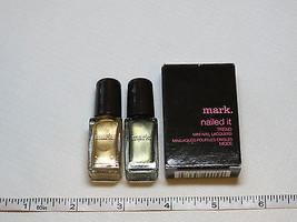 Avon Mark Nailed It Trend 2 mini nail Lacquer Mint Tea Safron polish mani pedi - $10.74