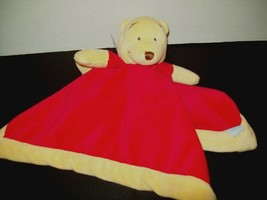 "Disney Winnie Pooh Baby Security Blanket Red Yellow Lovey Velour 13""x13"" - $14.84"
