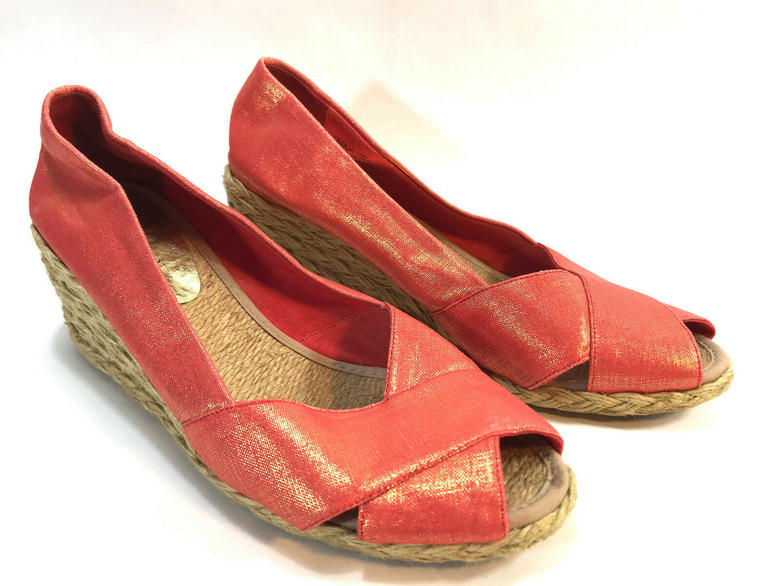 RALPH LAUREN red metallic linen espadrille wedge peep toe pumps 10 FREE SHIP! - $34.60