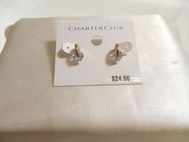 Charter Club 1.25 ctwt Gold Tone Simulated Diamond Stud Earrings B1055 $24 - $12.47