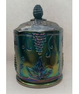 Vintage Indiana Harvest Grape Canister Carnival Glass Iridescent Biscuit... - $23.56
