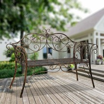 Garden Antique Wrought Iron Bench Loveseat Seats 2 Scrolled Romantic Bro... - $138.90