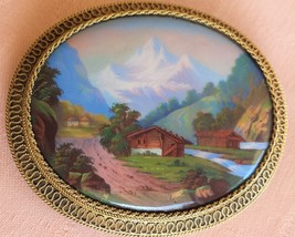 Antique Gold Swiss Enamel Brooch Alp Scene  pin - $825.00