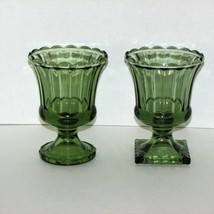 2 VINTAGE GREEN GLASS PEDESTAL VASE PLANTER RIBBED SCALLOPED INDIANA FLO... - $22.99