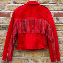 QASTAN WOMEN'S NEW SHORT BODY RED WESTERN FRINGE SUEDE LEATHER JACKET WWJ87 image 3