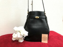 Vintage Coach Madison Deauville Belted Bag #4426 in Black Leather, Italy... - $128.69