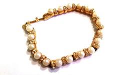 Beautiful White Faux Pearls Clear Rhinestones Gold Tone Bracelet - $17.99
