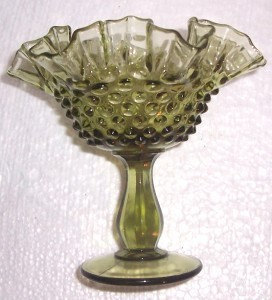 Rare Fenton Green Hobnail Ruffled Collectible Glass Art Display Compote