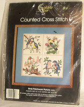 """Golden Bee Counted Cross Stitch Kit Birds Patchwork Picture 60203 12"""" x 12""""  - $13.54"""
